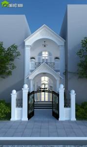 Thiết kế nhà phố 2 tầng phong cách cổ điển