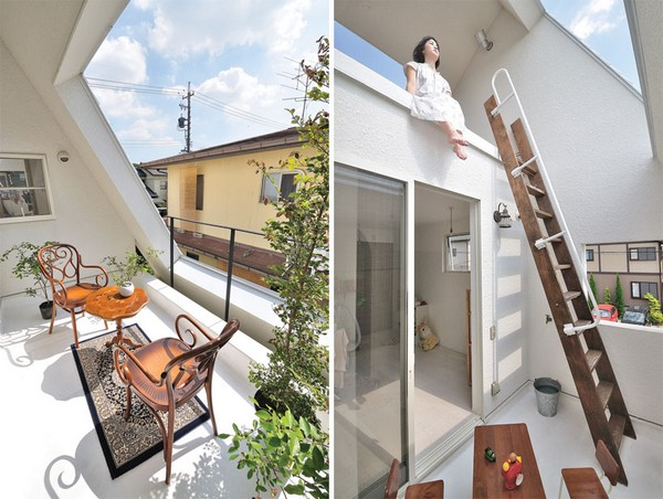 Thiết kế nhà phố như ngọn núi màu trắng ở Nhật Bản 4